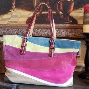 Coach multi colored suede handbag with patent trim